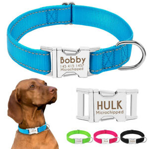 Reflective Personalised Nylon Dog Collars Adjustable for Small to Large Dogs