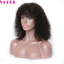 Kinky Curly Full Lace Wigs with Bangs Mongolian Virgin Human Hair Lace Wigs