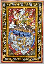 Old E. Indian Framed Puri (Patachitra) Painting of Jagannath, Balabadra & Ravana