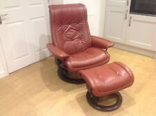 Ekornes Stressless Tan Leather Recliner Chair & Stool  **Delivered UK Mainland**
