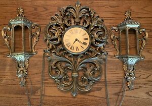 VTG BURWOOD WALL CLOCK W/ SCONCES & CHAIN-FRENCH GOLD