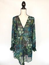 H&M Conscious Womens Sheer Dress Cover Up Long Sleeve Tie Waist Floral Jungle 6