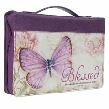 """Purple Butterfly Blessings With Flowers """"Blessed"""" Bible / Book Cover Large"""