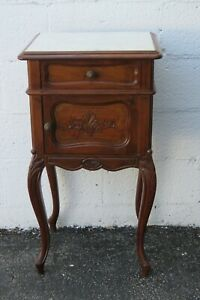 French Early 1900s Carved Tall Marble Top Nightstand Side End Bedside Table 2410