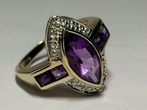 9 CT YELLOW & WHITE GOLD LADIES AMETHYST & DIAMOND RING, SIZE.M. 3.65.GRAMS,