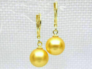 LUXURIOUS AAA 8-9MM ROUND GOLD YELLOW  PEARLS EARRING 14K GOLD