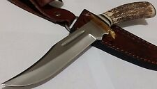 STAG HUNTING BOWIE KNIFE W/ SHEATH CASE BLOOD GROOVE CUSTOM POMMEL !