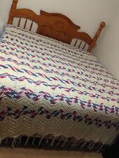 Handmade Afghan Zig Zag Chevron King Size Crochet Blanket (USED)