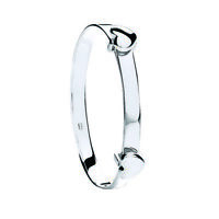 925 Sterling Silver Expandable Baby Heart Bangle - Fully Hallmarked