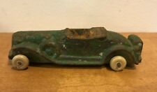 """Vintage Hubley Convertible Roadster 4"""" Cast Iron Toy Car Rare Rubber Tires"""