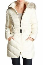 NWT Betsey Johnson Hooded Waist Belt Quilted Jacket Puffer Ivory White Medium M