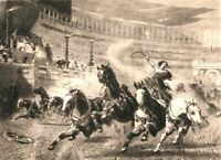Rome CIRCUS MAXIMUS CHARIOT RACE HORSES FALL ~ 1884 Original Art Print Etching