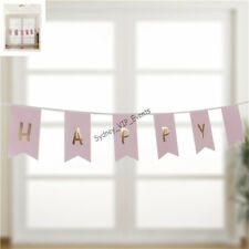 PINK GOLD FOIL HAPPY BIRTHDAY BUNTING PARTY HANGING BANNER PENNANT GARLAND 3.5M