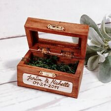 Personalized Rustic Wedding Ring Wooden Box with moss Engraved Gift Box