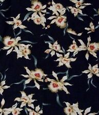 Paradise Found Hawaiian Mens Shirt Large Orchids Black Made In USA Aloha Floral
