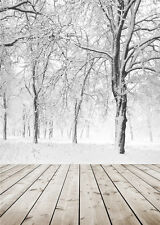 Winter Tree Photo Background Snow Photography Backdrops Vinyl for Children 5x7ft