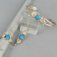 Armreif mit Ring, Silber 925 Türkis, Indianerschmuck, Ring Größe 56, selten!