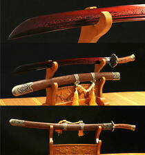 38.5' DAMASCUS FOLDED STEEL RED BLADE  FULL TANG CHINESE PLUM QING SWORD(清刀)