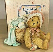 Cherished Teddies 950475 Jasmine Bear w/ Basket Figurine 1991