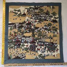 Vintage 100% Silk Made Japan Signed Scarf Oriental Asian Japanese Sakura Scene29
