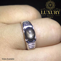 Natural Star Sapphire Gemstone Solid 925 Sterling Silver Luxury Men's Ring