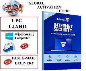 F-Secure Internet Security 2021 1 PC 1 Jahr  EU / DE / GLOBAL KEY CODE