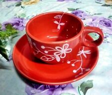 1 Set Ceramic Coffee Tea Cup Saucer Tableware red color striped flower s 200 cc