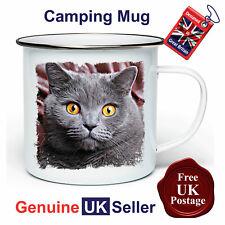British Shorthair Cat Camping Mug, British Shorthair Mug, Outdoor Mug, Tin Mug,