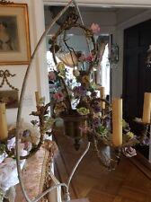 omg Antique  vtg french tole Porcelain roses flowers Chandelier lamp