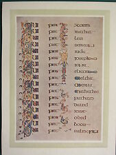 1914 stampa ~ PIASTRA illuminante dal libro di Kells ~ la Genealogia di Cristo (2)
