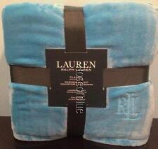RALPH LAUREN BLANKET TURQUOISE BLUE MICROMINK FULL QUEEN Logo CLASSIC BEAUTIFUL
