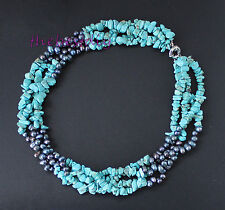 Hand-woven Turquoise, Black Freshwater Baroque Pearls Necklace Bridesmaid Gift