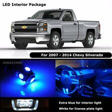11PCS Extra Blue Interior LED Bulbs for 07-14 Chevy Silverado White for License