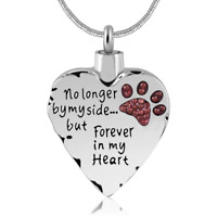 Dogs Pets Cat Heart Cremation Urns Necklace For Ashes Keepsake Memorial Pendant