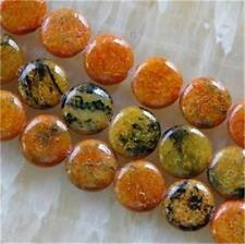 14mm Yellow Azurite Chrysocolla coins Gems Loose Beads 15''AAA