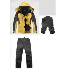 D17 Men Yellow Ski Snowboard Winter Waterproof Jacket Pants Gloves S M L XL XXL