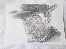A4 Art Graphite Pencil Sketch Drawing Harrison Ford as Indiana Jones A