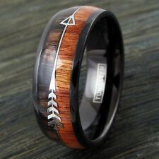 8mm Black Tungsten Men's Wood & Arrow Wedding Band Ring - Engraving Available