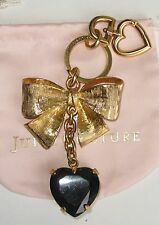 NWOT Juicy Couture Large Black Heart and Bow Purse Charm Key Chain Fob