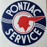 "Pontiac Service 12"" Round Decal *Gas & Oil #2 / GAS PUMP STICKERS / PONTIAC"