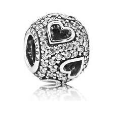 ORIGINALE Pandora Argento Sterling Bead s925 ALE tagliato Pave Cuore Charm 791426cz