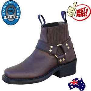 Johnny Reb Motorcycle Motorbike Leather Cruiser Chopper Boots New Brown JR30100
