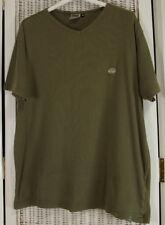 "QUIKSILVER Army Green Khaki Basic V-Neck T-Shirt M 43"" Stretchy Ribbed Tee"