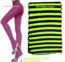 NEW BLACK & NEON YELLOW STRIPED TIGHTS   NEW PLUS SIZE! - Music Legs