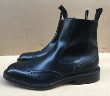 Green George Mens Black Chelsea Wingtip Boots Made In Italy Size UK 7 || USA 7.5