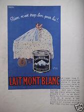 PUBLICITÉ 1930 LAIT MONT BLANC - LANDAU BERCEAU- CRÉATION RISACHER - ADVERTISING