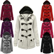 LADIES WOMENS FLEECE JACKET DUFFLE STYLE HOODED TOGGLE POCKET COAT TOP SIZE 8-20