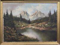 German Painter Naturalist Alpenlandschaft Bergesee with Spruce 22X29 7/8in