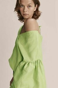 Country Road Green V Neck Tie Blouse Top Size 10 Linen Blend Balloon Sleeve