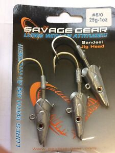 SAVAGE GEAR SEA LURES - SANDEEL JIG HEADS 29g - 5/0 - 3pcs - GREAT FOR BASS ETC
